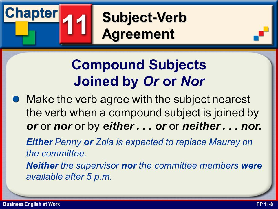 Business English at Work Subject-Verb Agreement Compound Subjects Joined by Or or Nor PP 11-8 Make the verb agree with the subject nearest the verb when a compound subject is joined by or or nor or by either...