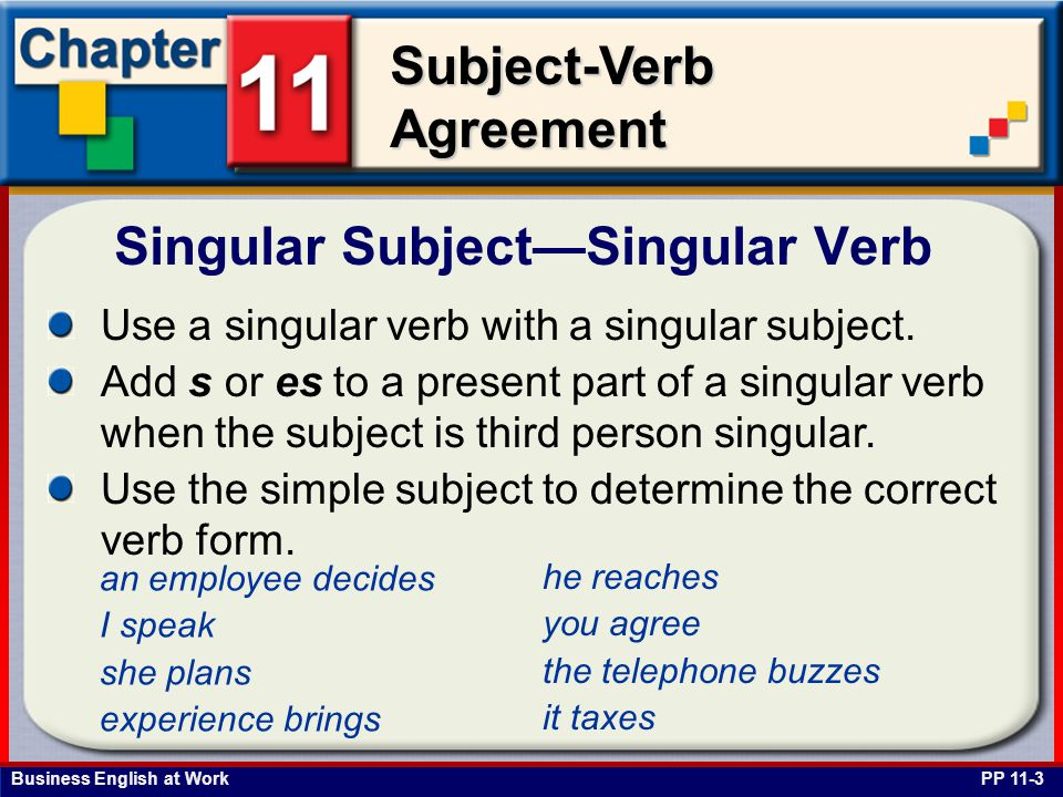 Business English at Work Subject-Verb Agreement Nouns Ending in ics PP 11-23 Use a singular verb with a noun that ends in ics when the noun refers to one topic of study.