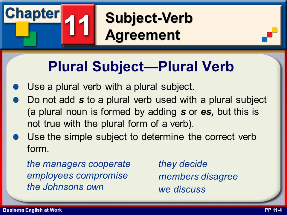 Business English at Work Subject-Verb Agreement Pronoun You—Plural Verb PP 11-5 Use a plural verb with both the second-person singular or second-person plural subject you.