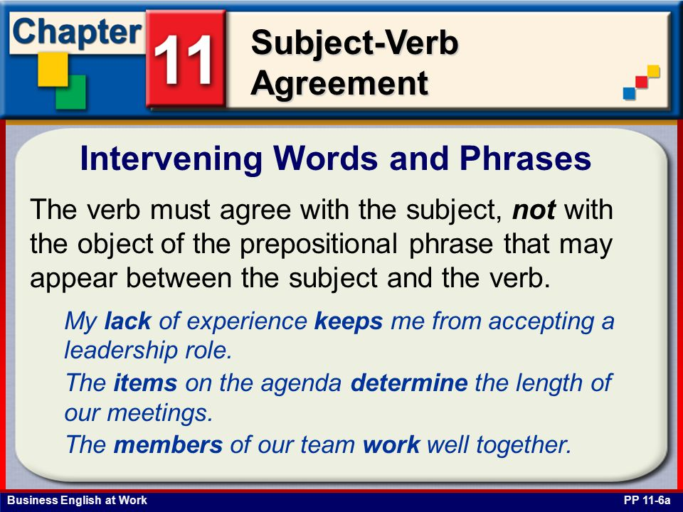 Business English at Work Subject-Verb Agreement Intervening Words and Phrases PP 11-6a The verb must agree with the subject, not with the object of the prepositional phrase that may appear between the subject and the verb.