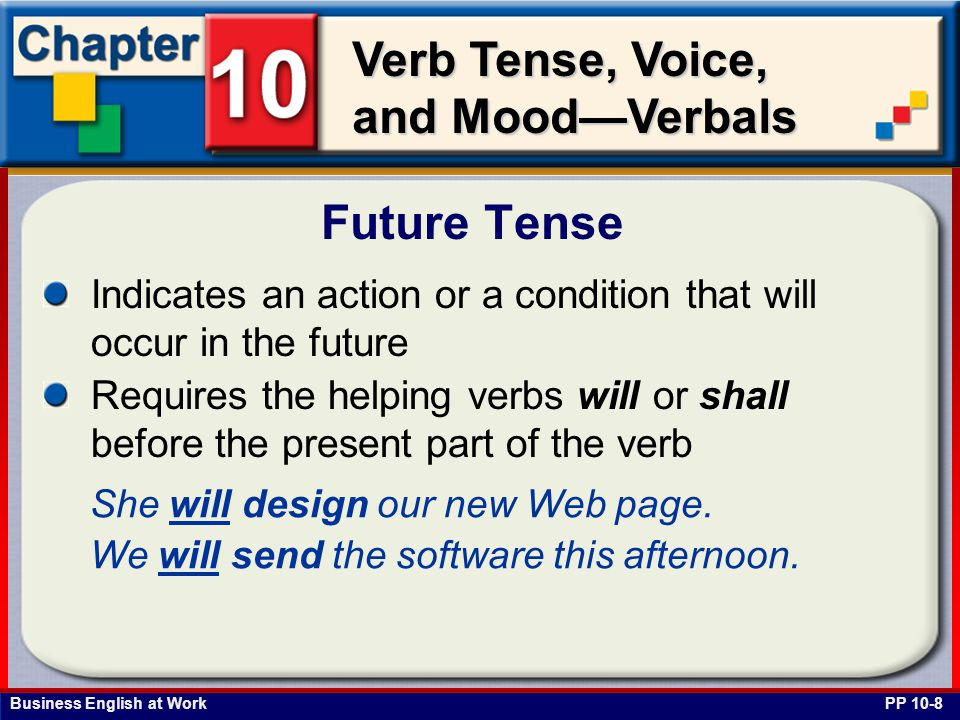 Business English at Work Verb Tense, Voice, and Mood—Verbals Indicates an action or a condition that will occur in the future Requires the helping verbs will or shall before the present part of the verb Future Tense PP 10-8 She will design our new Web page.