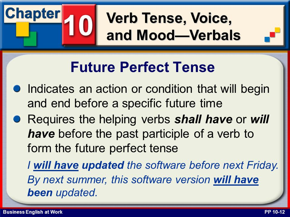 Business English at Work Verb Tense, Voice, and Mood—Verbals Indicates an action or condition that will begin and end before a specific future time Requires the helping verbs shall have or will have before the past participle of a verb to form the future perfect tense Future Perfect Tense PP 10-12 I will have updated the software before next Friday.
