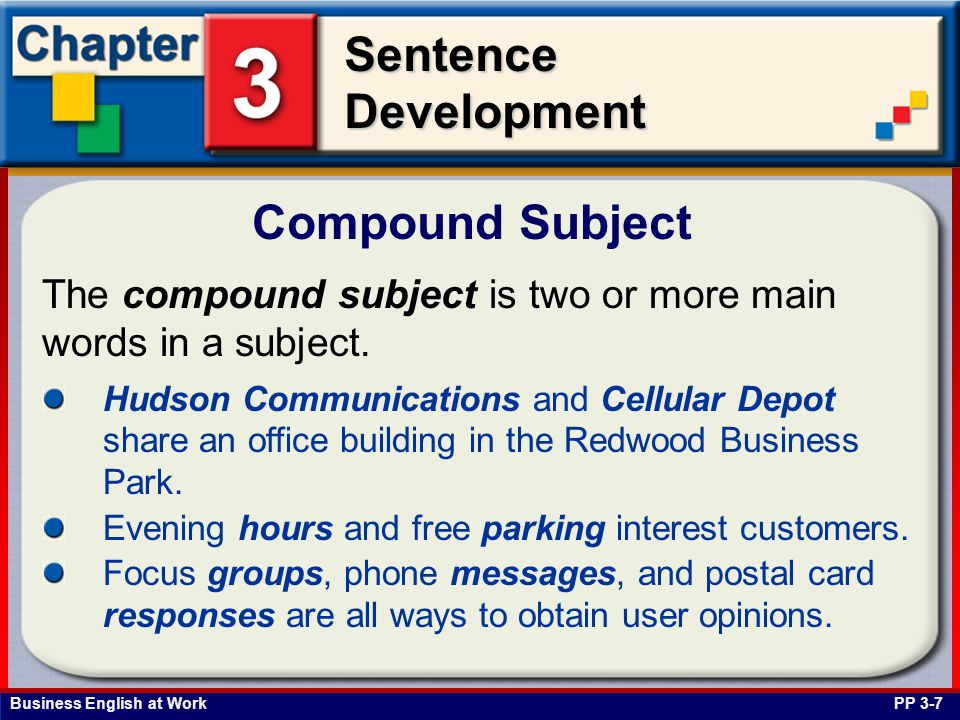 Business English at Work SentenceDevelopment The compound subject is two or more main words in a subject. Compound Subject PP 3-7 Hudson Communication