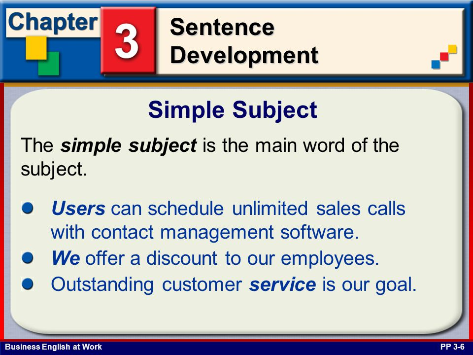 Business English at Work SentenceDevelopment The simple subject is the main word of the subject. Simple Subject PP 3-6 Users can schedule unlimited sa