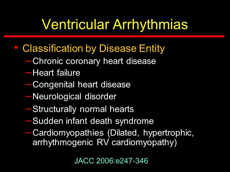 Ventricular Arrhythmias Classification by Disease Entity – Chronic coronary heart disease – Heart failure – Congenital heart disease – Neurological di
