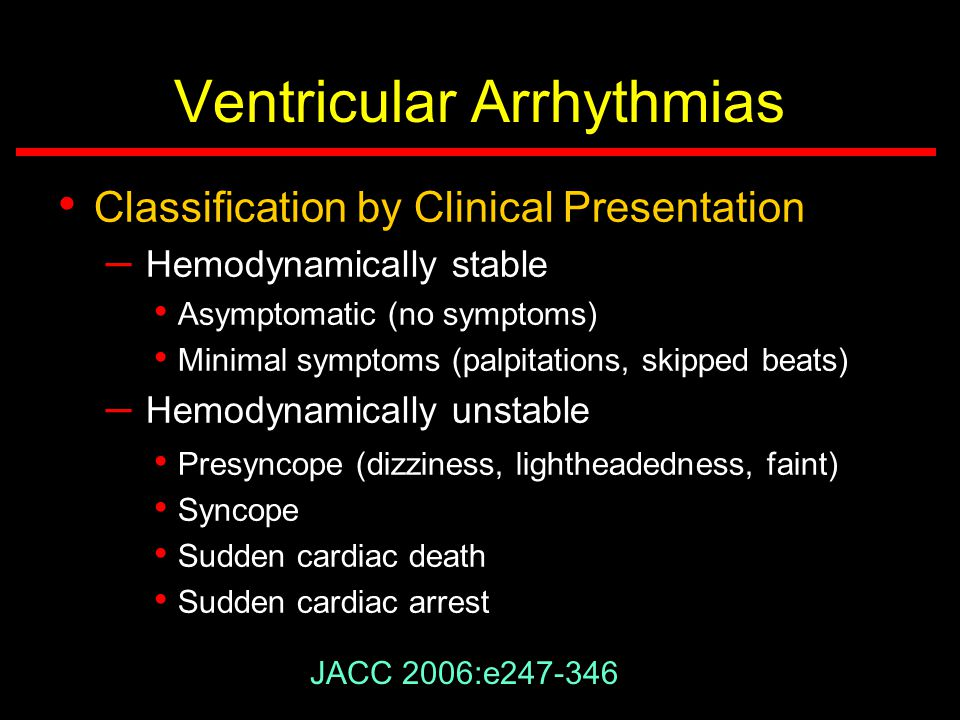 Classification of Ventricular Arrhythmias ACC/AHA/ESC 2006 Guidelines Classification by Clinical Presentation JACC 2006;48:e-247-346 Classification by ECG Classification by Disease Entity