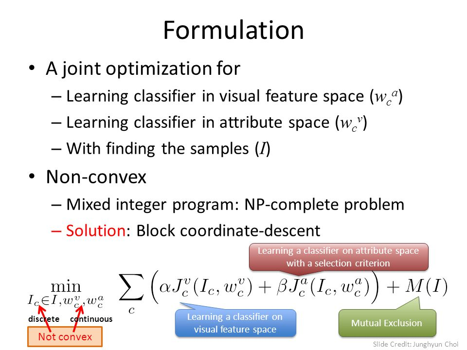 Formulation A joint optimization for – Learning classifier in visual feature space ( w c a ) – Learning classifier in attribute space ( w c v ) – With