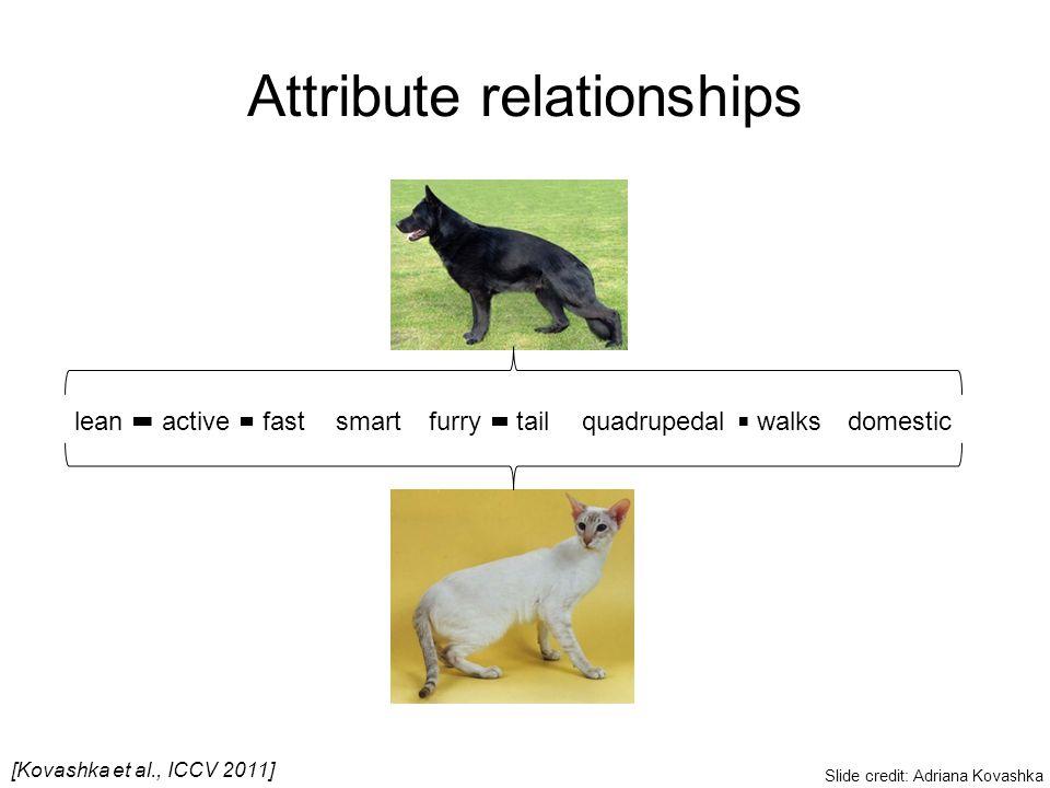 Attribute relationships leanfurryquadrupedaldomesticwalkstailactivefastsmart [Kovashka et al., ICCV 2011] Slide credit: Adriana Kovashka