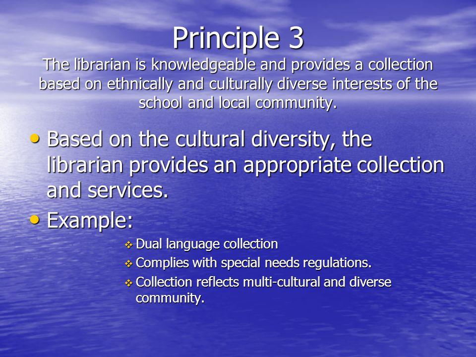 Principle 4 The Librarian serves as the public relations representative.