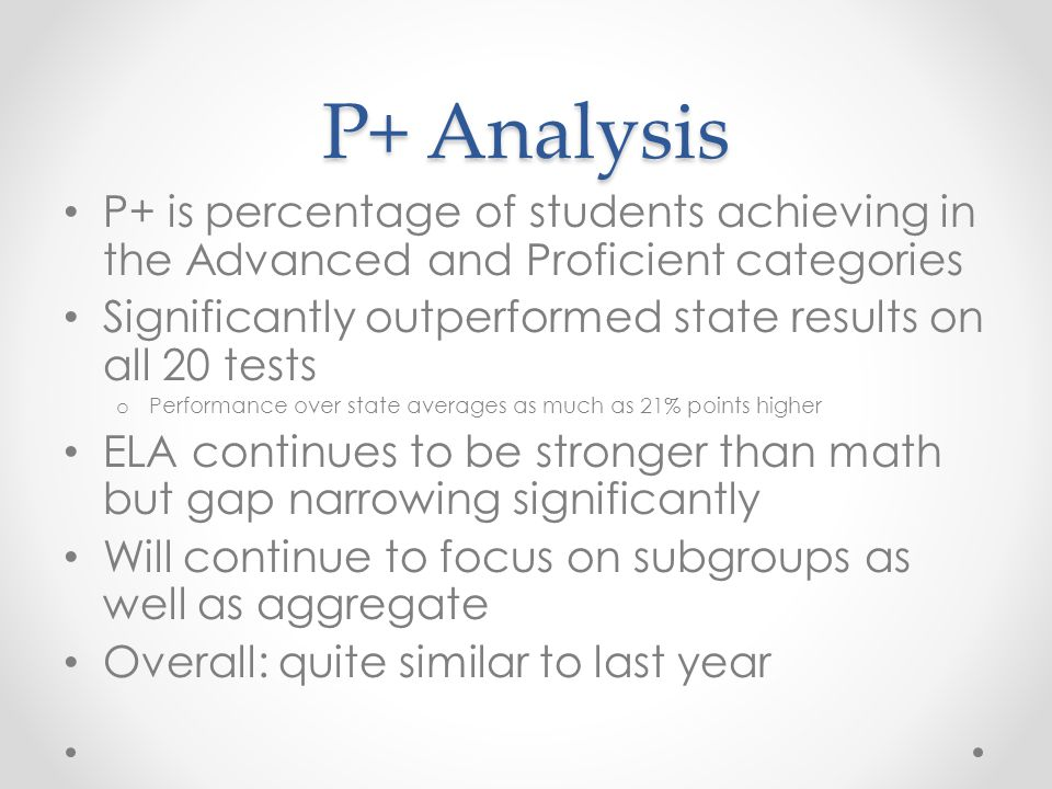 P+ Analysis P+ is percentage of students achieving in the Advanced and Proficient categories Significantly outperformed state results on all 20 tests o Performance over state averages as much as 21% points higher ELA continues to be stronger than math but gap narrowing significantly Will continue to focus on subgroups as well as aggregate Overall: quite similar to last year