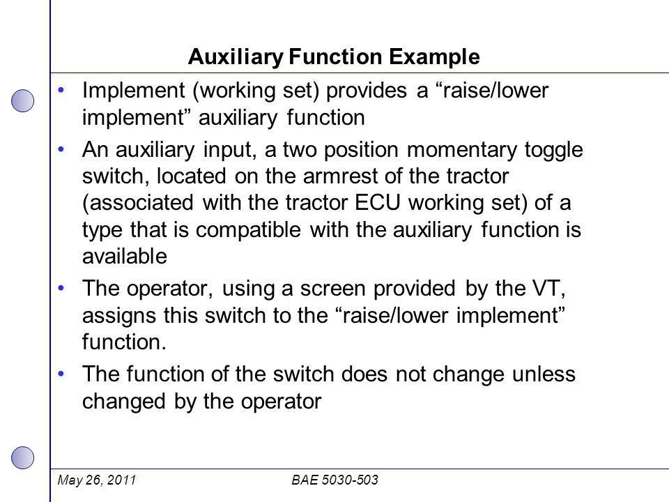 """Auxiliary Function Example Implement (working set) provides a """"raise/lower implement"""" auxiliary function An auxiliary input, a two position momentary"""