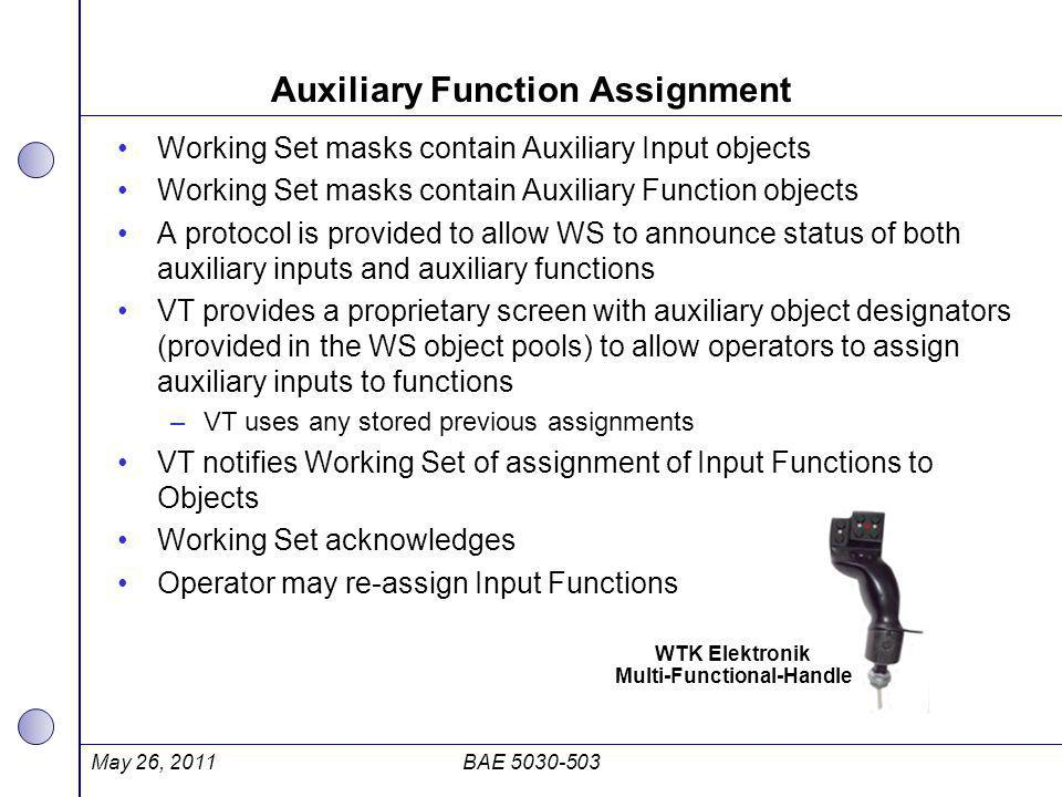 Auxiliary Function Assignment Working Set masks contain Auxiliary Input objects Working Set masks contain Auxiliary Function objects A protocol is pro