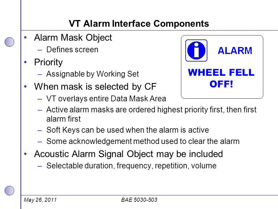 VT Alarm Interface Components Alarm Mask Object –Defines screen Priority –Assignable by Working Set When mask is selected by CF –VT overlays entire Da