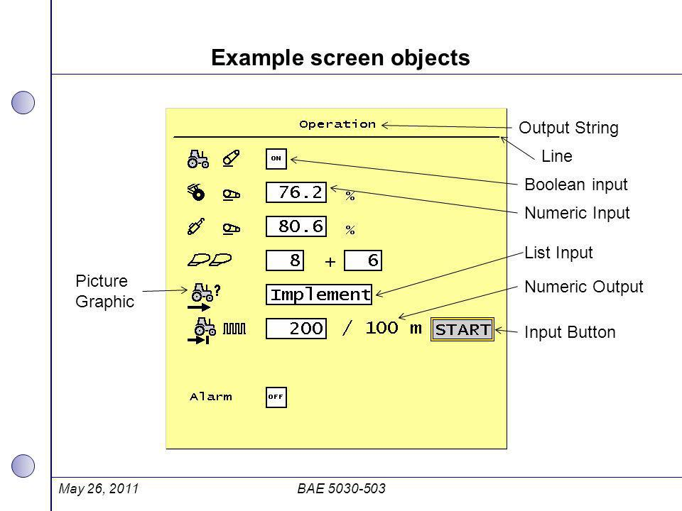 Example screen objects May 26, 2011BAE 5030-503 Output String Line Boolean input Numeric Input Numeric Output Input Button Picture Graphic List Input