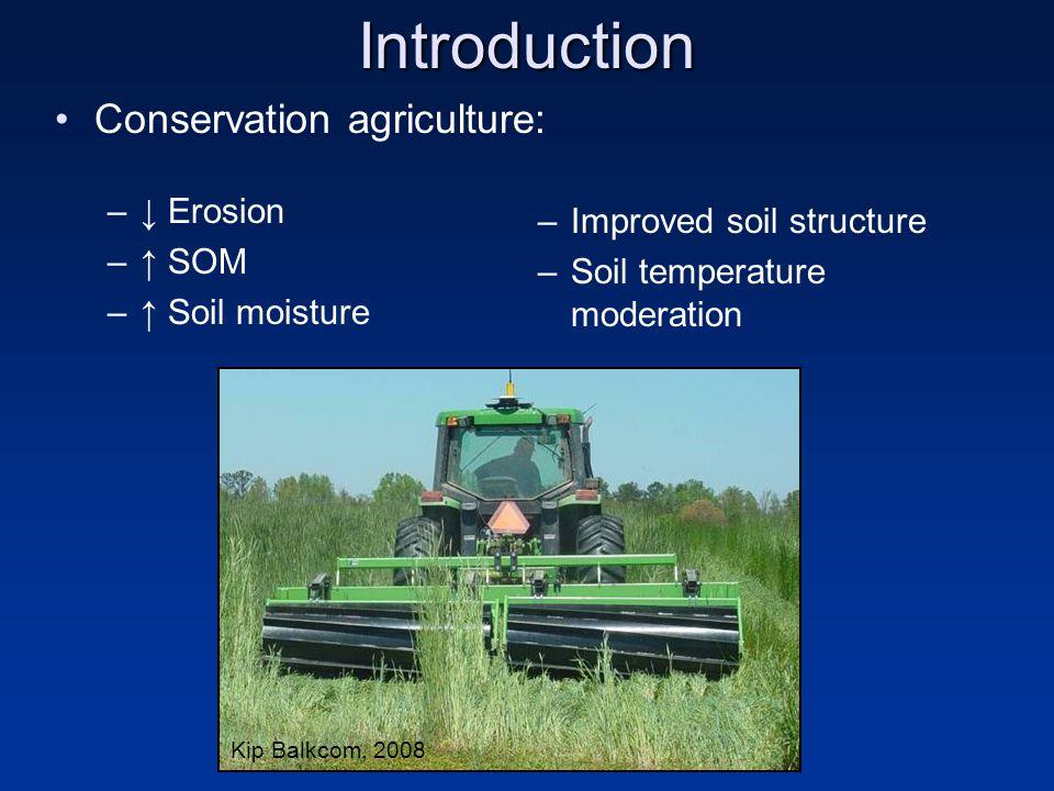Introduction Conservation agriculture: –↓ Erosion –↑ SOM –↑ Soil moisture –Improved soil structure –Soil temperature moderation Kip Balkcom, 2008