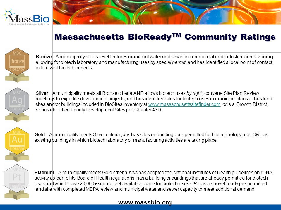 Bronze - A municipality at this level features municipal water and sewer in commercial and industrial areas, zoning allowing for biotech laboratory and manufacturing uses by special permit, and has identified a local point of contact in to assist biotech projects.