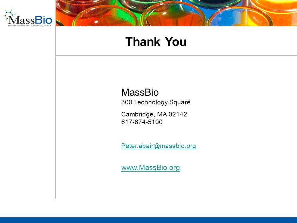 Thank You MassBio 300 Technology Square Cambridge, MA 02142 617-674-5100 Peter.abair@massbio.org www.MassBio.org