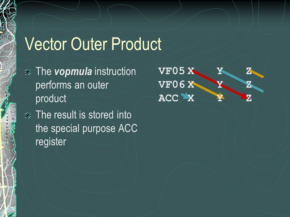 Vector Outer Product The vopmula instruction performs an outer product The result is stored into the special purpose ACC register VF05XYZ VF06XYZ ACCXYZ
