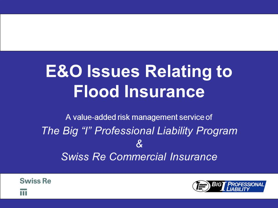 E&O Issues Relating to Flood Insurance A value-added risk management service of The Big I Professional Liability Program & Swiss Re Commercial Insurance