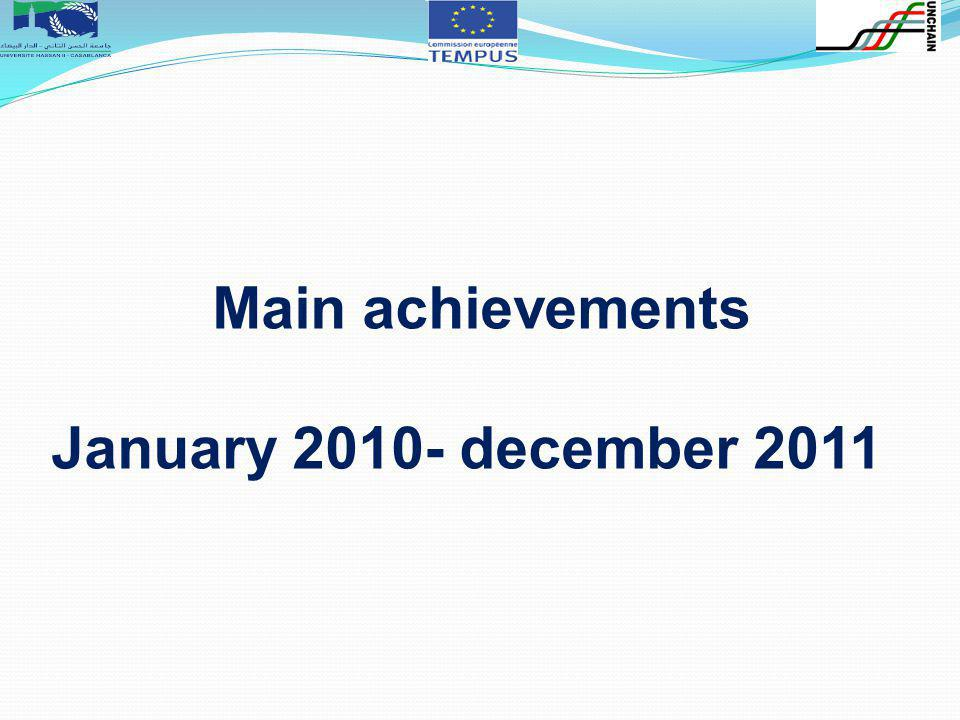 Main achievements January 2010- december 2011