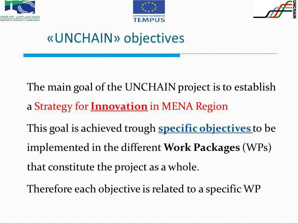 The main goal of the UNCHAIN project is to establish a Strategy for Innovation in MENA Region This goal is achieved trough specific objectives to be implemented in the different Work Packages (WPs) that constitute the project as a whole.