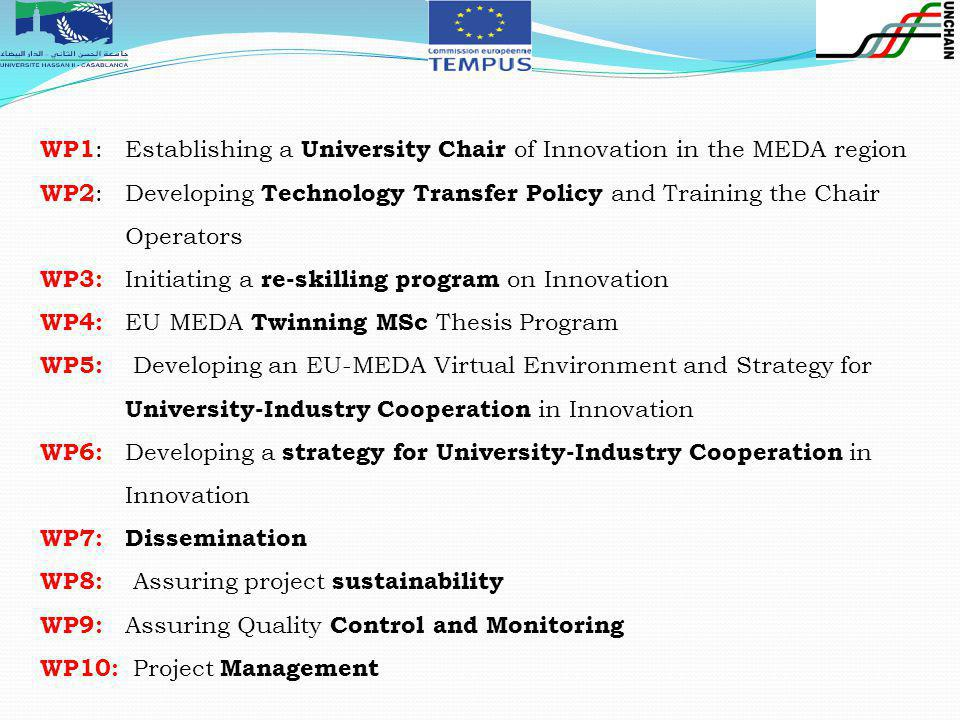 . WP1 : Establishing a University Chair of Innovation in the MEDA region WP2 : Developing Technology Transfer Policy and Training the Chair Operators WP3: Initiating a re-skilling program on Innovation WP4: EU MEDA Twinning MSc Thesis Program WP5: Developing an EU-MEDA Virtual Environment and Strategy for University-Industry Cooperation in Innovation WP6: Developing a strategy for University-Industry Cooperation in Innovation WP7: Dissemination WP8: Assuring project sustainability WP9: Assuring Quality Control and Monitoring WP10: Project Management