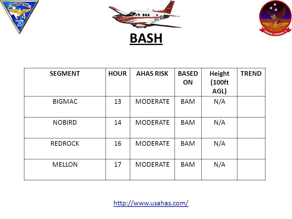 BASH SEGMENTHOURAHAS RISKBASED ON Height (100ft AGL) TREND BIGMAC13MODERATEBAMN/A NOBIRD14MODERATEBAMN/A REDROCK16MODERATEBAMN/A MELLON17MODERATEBAMN/A http://www.usahas.com/
