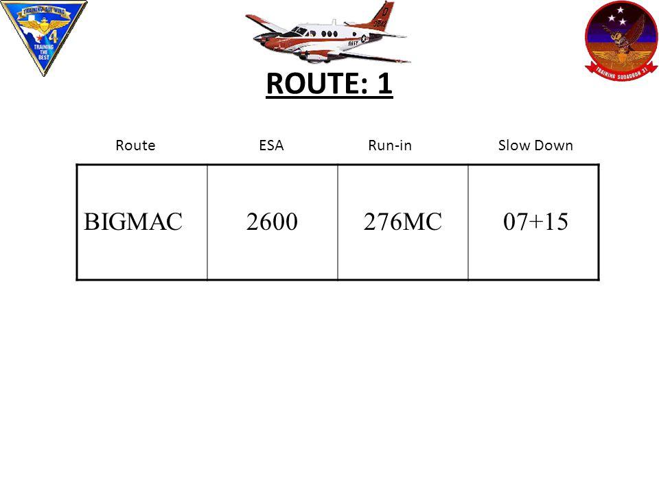 ROUTE: 1 BIGMAC 2600 276MC 07+15 Route ESA Run-in Slow Down