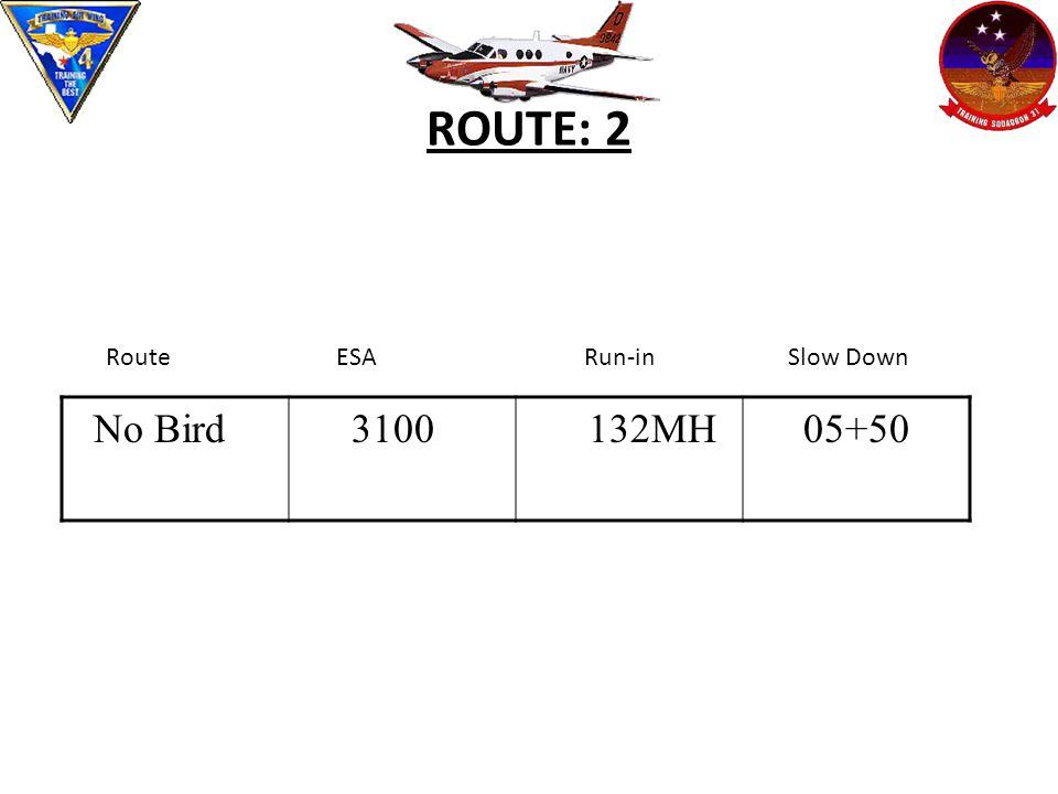 ROUTE: 2 No Bird 3100 132MH05+50 Route ESA Run-in Slow Down