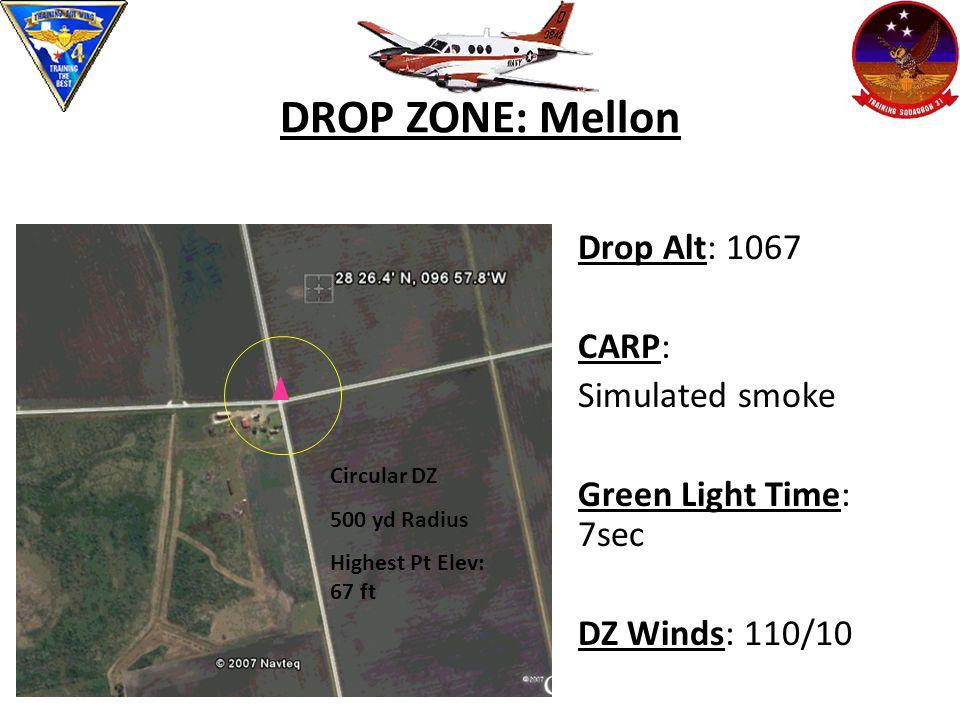 DROP ZONE: Mellon Drop Alt: 1067 CARP: Simulated smoke Green Light Time: 7sec DZ Winds: 110/10 Circular DZ 500 yd Radius Highest Pt Elev: 67 ft
