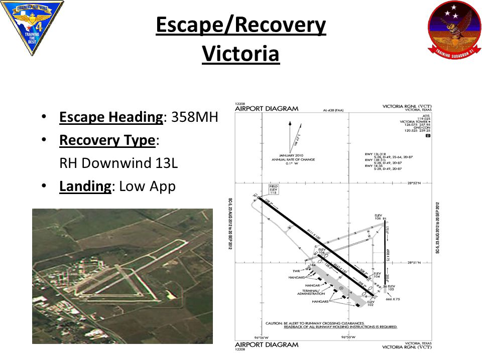 Escape/Recovery Victoria Escape Heading: 358MH Recovery Type: RH Downwind 13L Landing: Low App