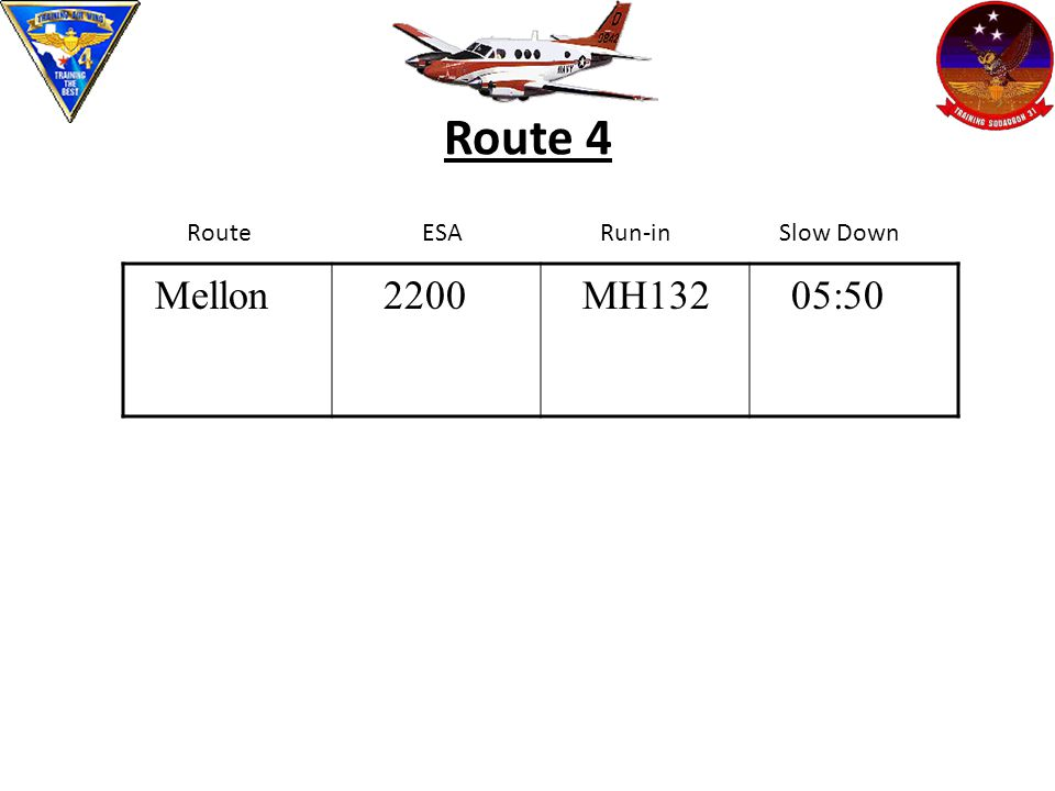 Route 4 Route ESARun-in Slow Down Mellon 2200 MH132 05:50