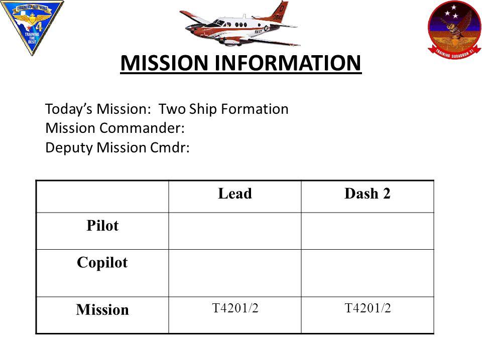 MISSION INFORMATION Today's Mission: Two Ship Formation Mission Commander: Deputy Mission Cmdr: LeadDash 2 Pilot Copilot Mission T4201/2