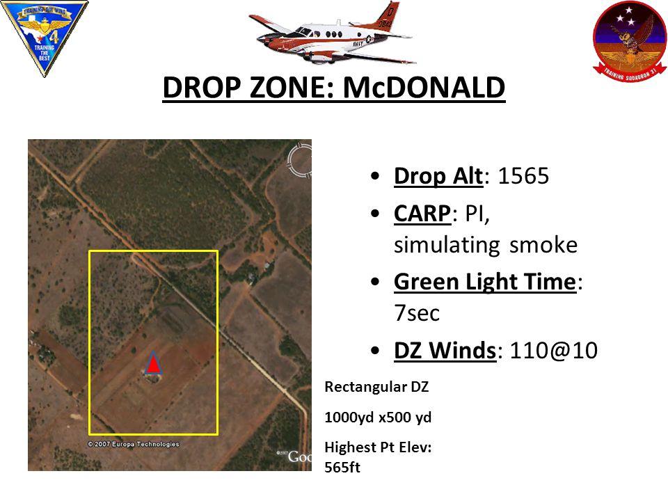DROP ZONE: McDONALD Drop Alt: 1565 CARP: PI, simulating smoke Green Light Time: 7sec DZ Winds: 110@10 Rectangular DZ 1000yd x500 yd Highest Pt Elev: 565ft