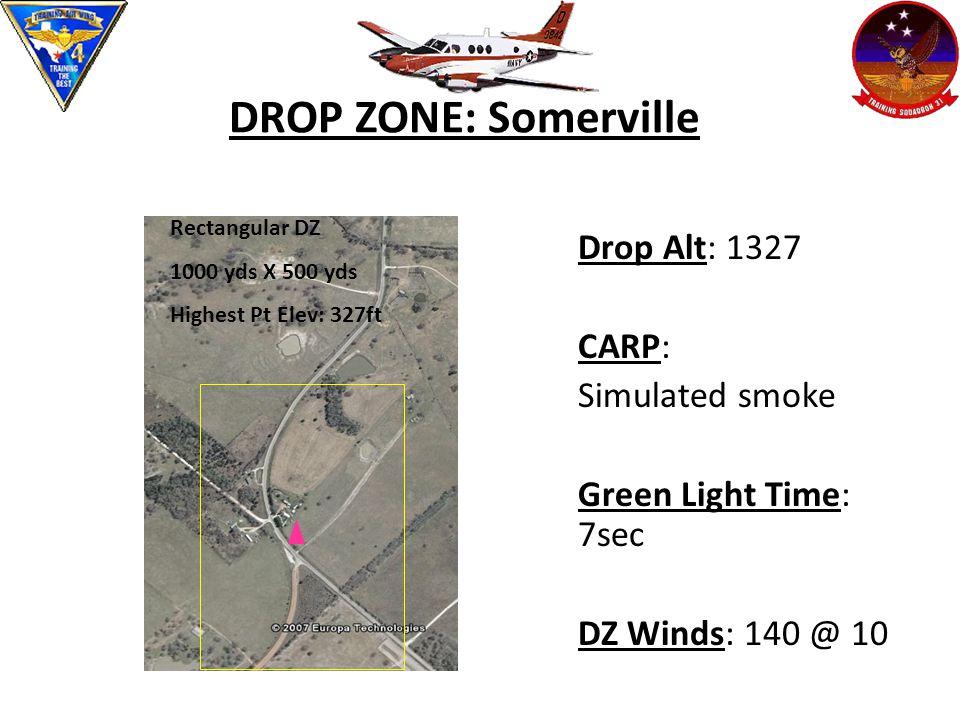 DROP ZONE: Somerville Drop Alt: 1327 CARP: Simulated smoke Green Light Time: 7sec DZ Winds: 140 @ 10 Rectangular DZ 1000 yds X 500 yds Highest Pt Elev: 327ft