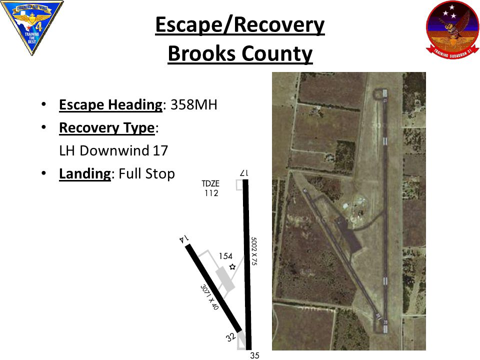 Escape/Recovery Brooks County Escape Heading: 358MH Recovery Type: LH Downwind 17 Landing: Full Stop