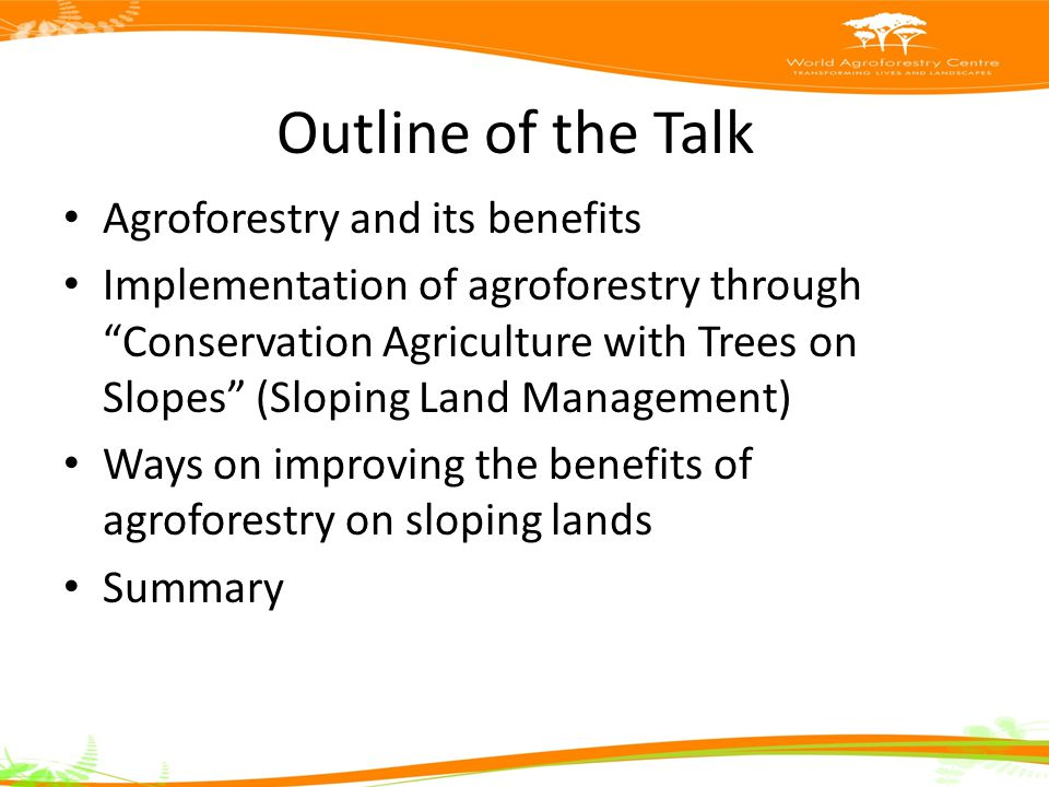 Outline of the Talk Agroforestry and its benefits Implementation of agroforestry through Conservation Agriculture with Trees on Slopes (Sloping Land Management) Ways on improving the benefits of agroforestry on sloping lands Summary