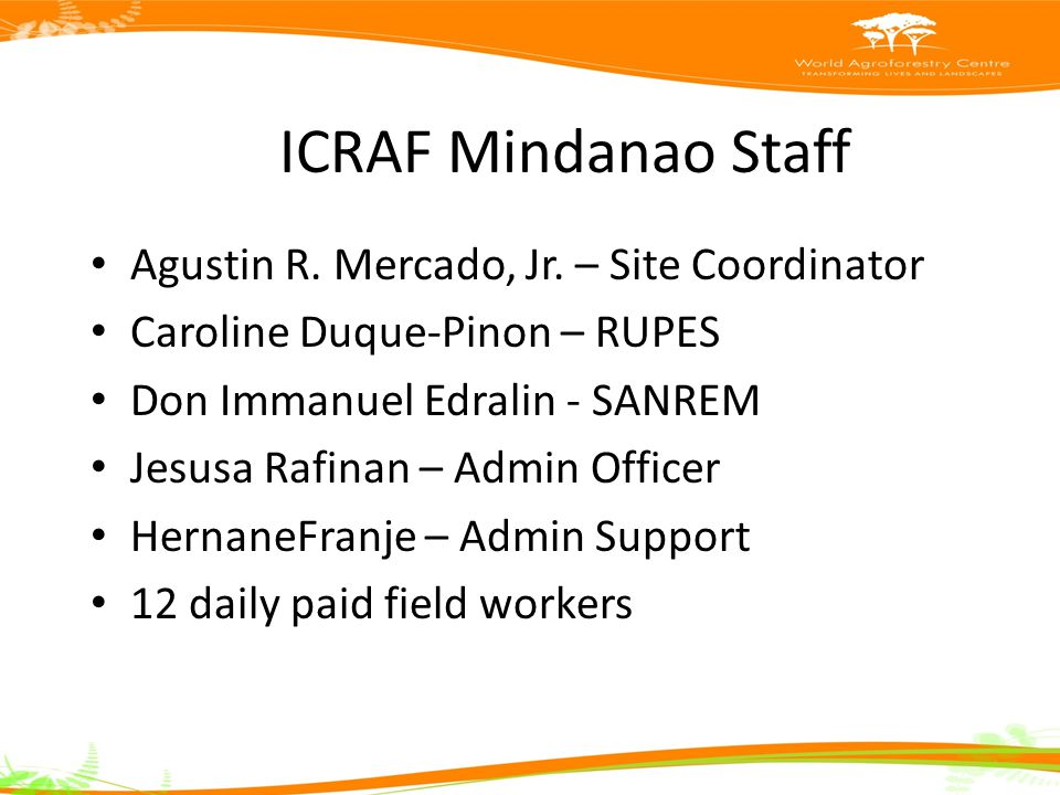 ICRAF Mindanao Staff Agustin R. Mercado, Jr.