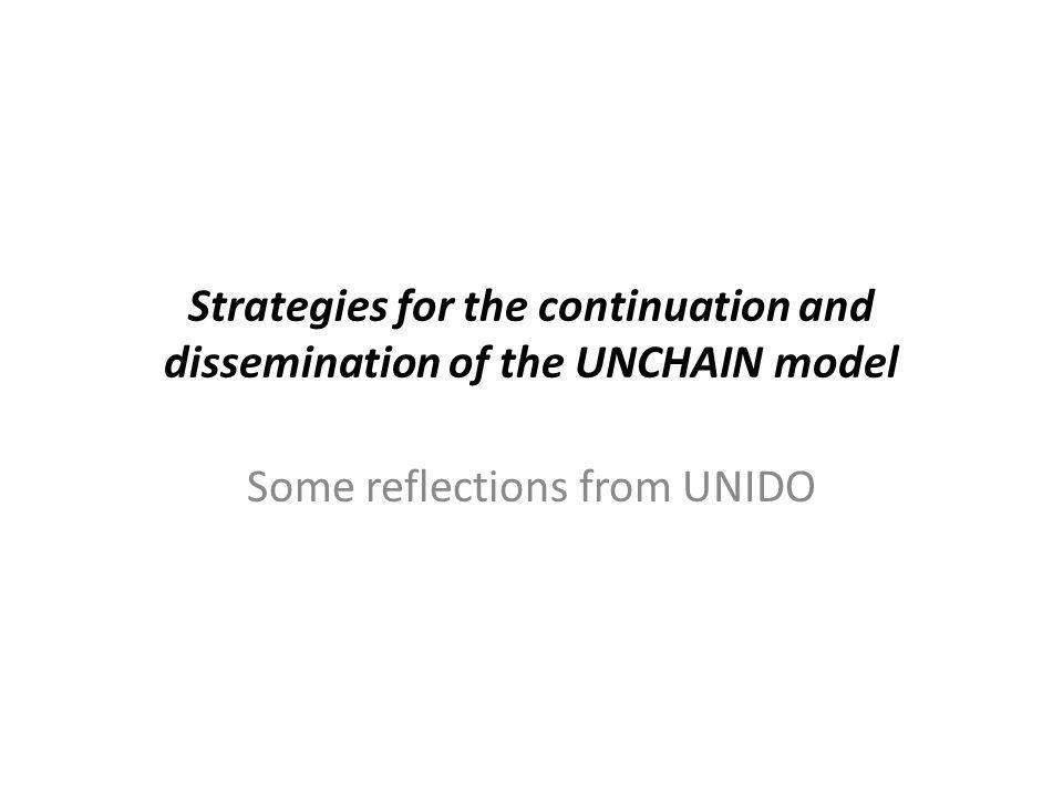 Strategies for the continuation and dissemination of the UNCHAIN model Some reflections from UNIDO