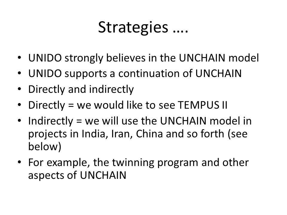 Strategies …. UNIDO strongly believes in the UNCHAIN model UNIDO supports a continuation of UNCHAIN Directly and indirectly Directly = we would like t
