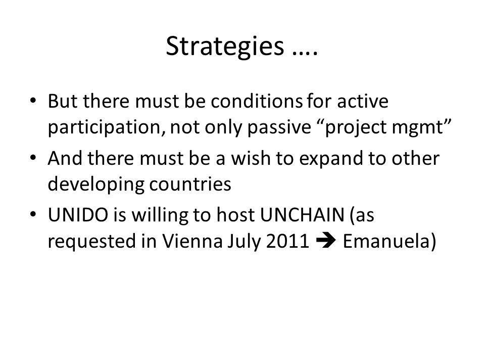 "Strategies …. But there must be conditions for active participation, not only passive ""project mgmt"" And there must be a wish to expand to other devel"