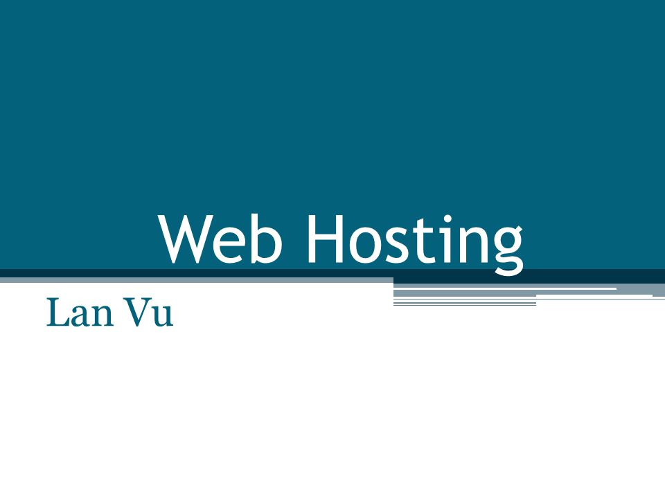 Type of Web hosting Home web hosting ▫ Use your home PC as hosting server  PC with Internet Connection  Register for a static IP address from Internet provider or use dynamic DNS service  Web server software installed and running on your PC.