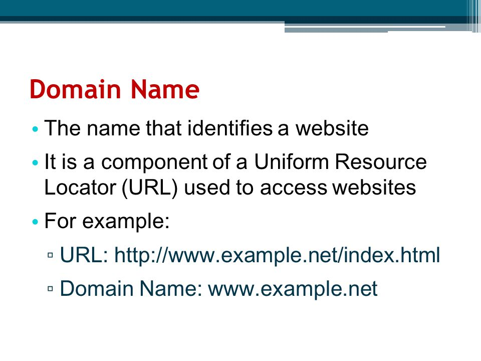 The name that identifies a website It is a component of a Uniform Resource Locator (URL) used to access websites For example: ▫ URL: http://www.exampl