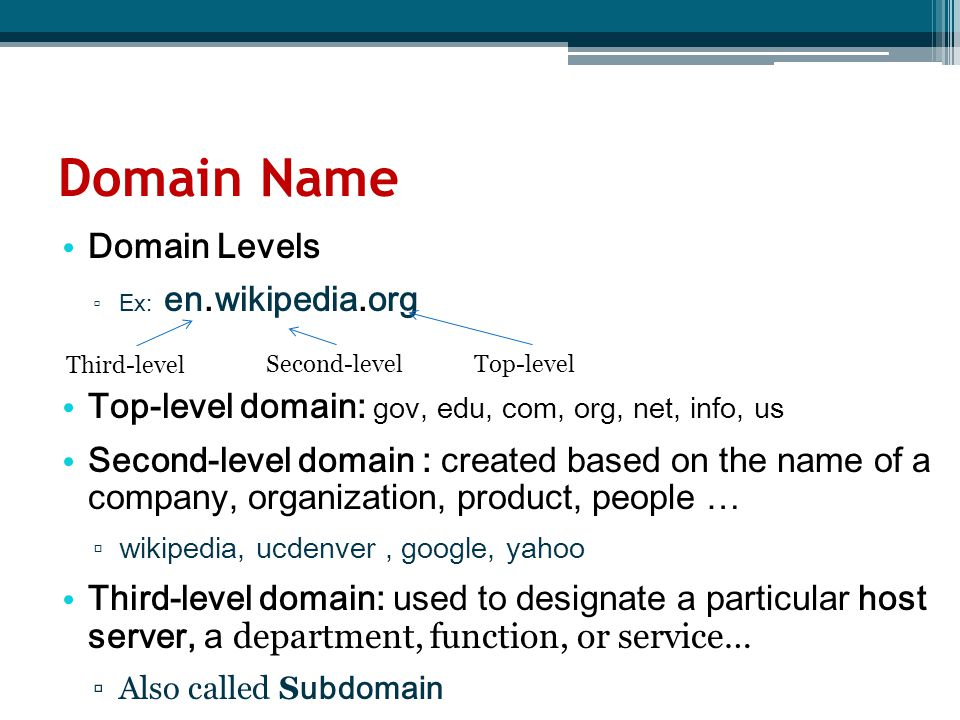 Domain Name Domain Levels ▫ Ex: en.wikipedia.org Top-level domain: gov, edu, com, org, net, info, us Second-level domain : created based on the name o