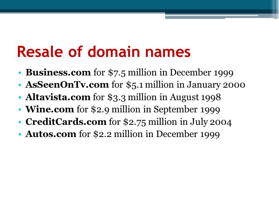 Resale of domain names Business.com for $7.5 million in December 1999 AsSeenOnTv.com for $5.1 million in January 2000 Altavista.com for $3.3 million i