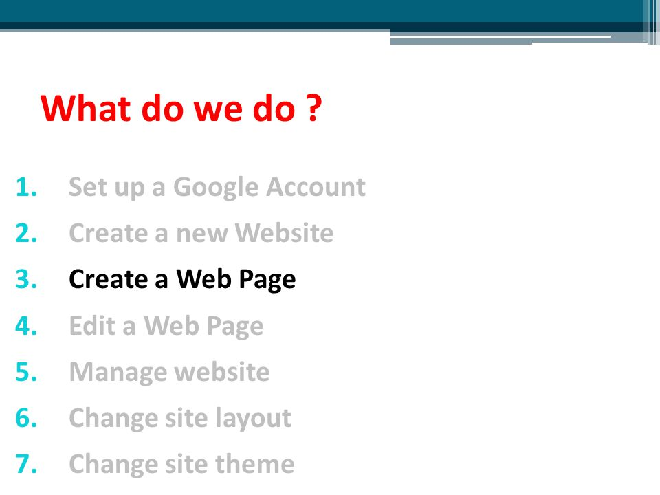 What do we do ? 1.Set up a Google Account 2.Create a new Website 3.Create a Web Page 4.Edit a Web Page 5.Manage website 6.Change site layout 7.Change