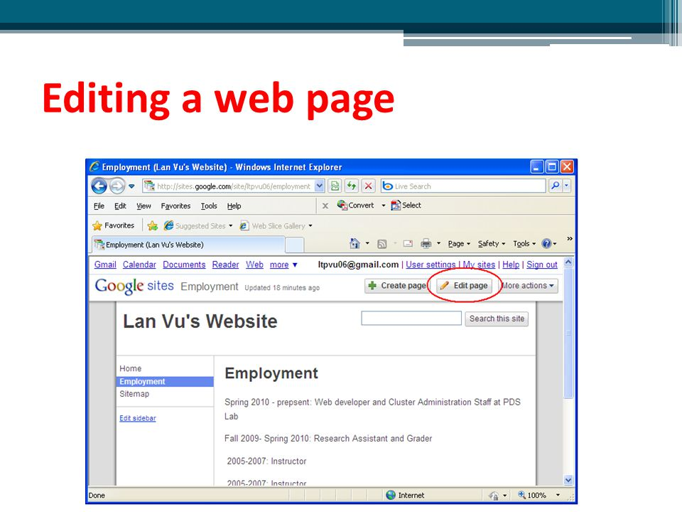 Editing a web page