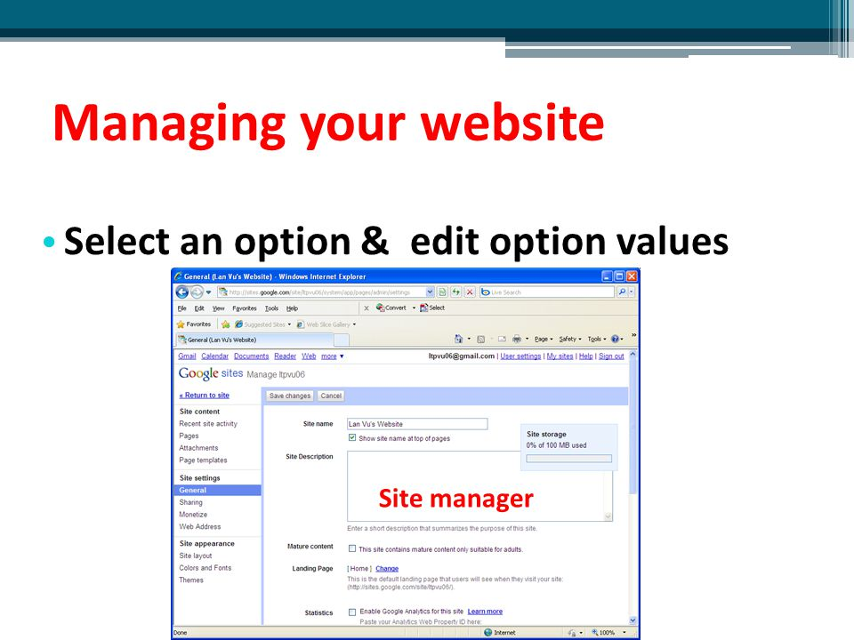Managing your website Select an option & edit option values Site manager