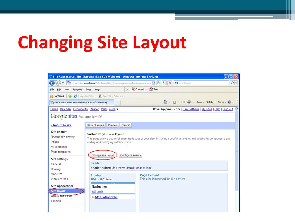 Changing Site Layout