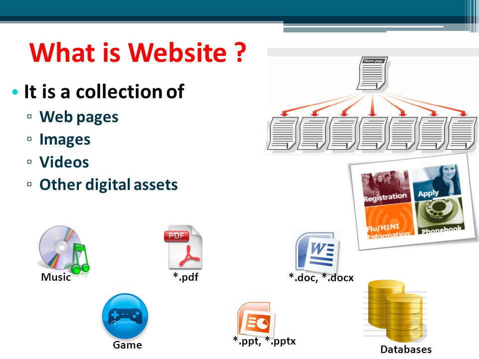 Web page Website is a collection of Web pages A Web page is a document on World Wide Web Web page is usually in HTML or XHTML format Every Web page is identified by a unique URL (link) It can be accessed through a web browser (Internet Explorer, Fire fox)